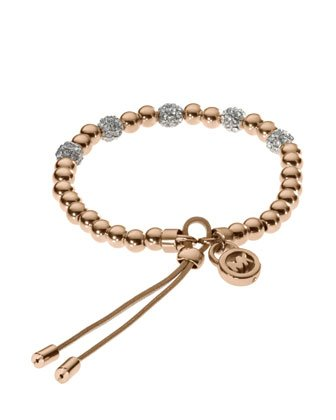 Michael Kors Mkj1973 Rose Gold Bead Stretch Bracelet