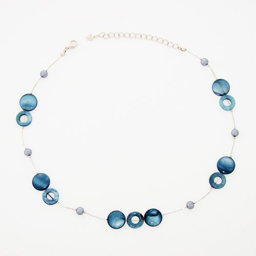 Chuvora Mother of Pearl Shell Disc and Round Beads Navy Blue Necklace 16''- 19''
