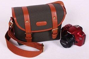 Cosmos Dark Green Canvas Vintage Camera Shoulder Carrying Protection Bag for Canon Nikon Sony Olympus Kodak Panasonic Fujifilm Cameras Dslr Len + Free Cosmos Cable Tie