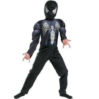 Licensed to Disguise Inc Deluxe Black Suited Muscle Chest Spider-Man Costume