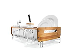 simplehuman Bamboo Frame Dishrack with Bamboo Knife Block, Clear