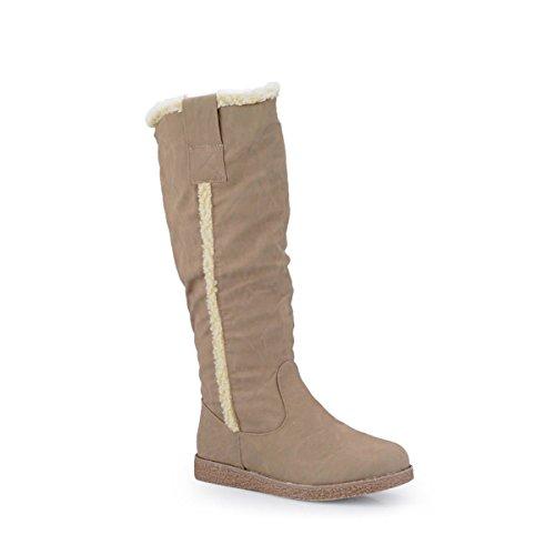 Damen Schuhe wadenhohe Damenstiefel Winterstiefel gefüttert Stiefel khaki 37