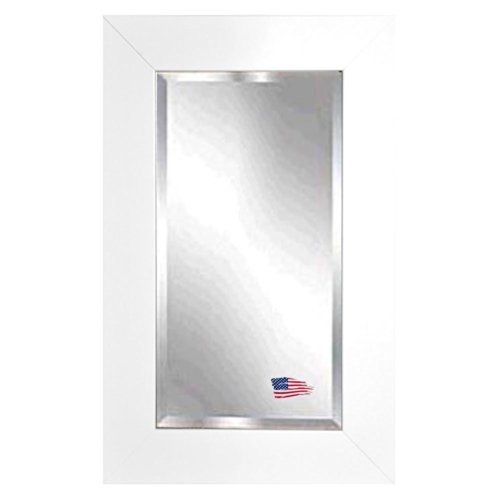 American Made Rayne White Satin Wide Beveled Wall Mirror, 23.5 X 35.5 front-436375