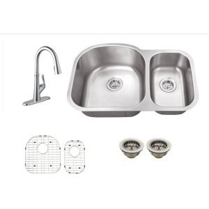 Schon SC1067550CR Combos Chrome All-in-One Undermount Stainless Steel 29.5 Inch 0-Hole Double Bowl Kitchen Sink with Faucet