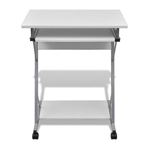 Tavolo Scrivania per Computer Laptop e Desktop Ripiano Estraibile Tavolo da Ufficio/Tavolo per Studente Finitura (Bianco)