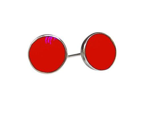 OWC Sterling silver enamel dot earrings,red