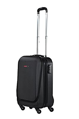 "Swiss Case 20"" Hard Suitcase EZ ZIP Front Pocket for Laptops - Ultimate Carry On"