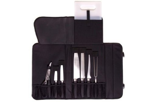 Camp Chef KSET9 Knife Set with Stainless Steel Rubber Handle and Deluxe Carry Bag, 9-Piece