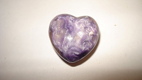 (#1) (**Hot New Item**) 1Pc Small 20Mm Premium Quality Charoite Heart Shaped Polished Crystal Gemstone Specimen (Very Limited Quantity)
