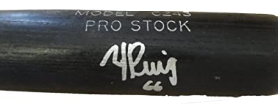 Yasiel Puig Autographed Louisville Slugger Bat W/PROOF, Picture of Yasiel Signing For Us, Los Angeles Dodgers, Team Cuba, Top Prospect