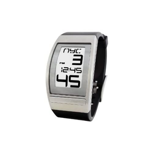 腕時計 Phosphor Men's WC01 World Time Curved E-INK Black Polyurethane Strap Watch【並行輸入品】