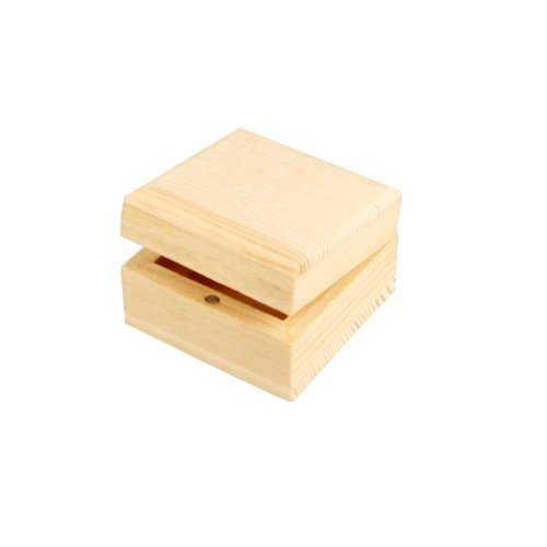 Creativ 1-Piece Wooden Small Square Jewellery Box with Magnetic Clasp
