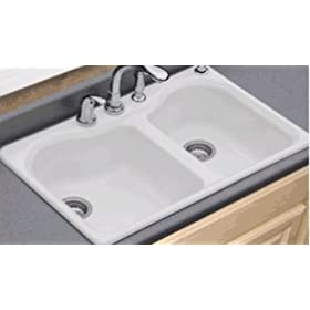 Peachtree Forge PF51 Avera Double Bowl Kitchen Sink, 4-Hole, Biscuit