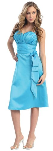 Formal Bridesmaid Prom Satin Dress #510 (10, Turquoise)