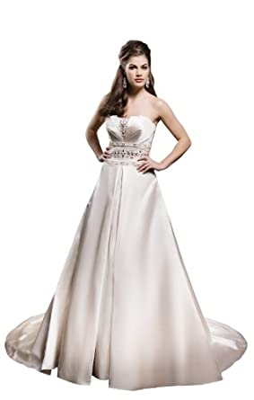 Empire Strapless Court Train Wedding Dress With Crystal/Beading 2 Ivory