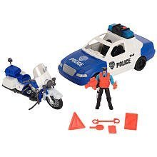 True Heroes Police Rescue Patrol w/Motorcycle, Figure, Police Car-Lights & Sound by Toys-R-Us
