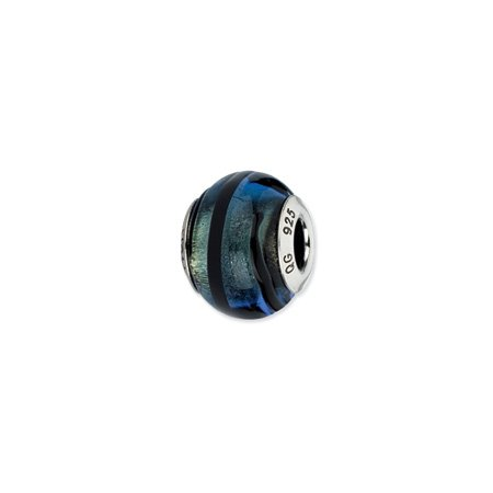 Dark Blue with Black Stripes Murano Glass Charm