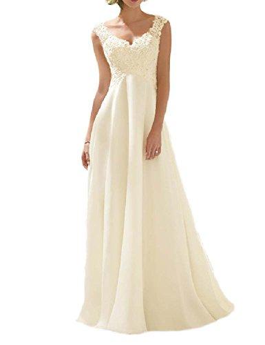VIVIANSBRIDAL® A Line Lace Sapghetti Straps Chiffon Wedding Dresses, US 6 Champagne