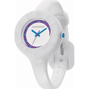 Converse Women's VR023100 The Skinny Round White Analog Dial with White Silcone Case and Strap Watch