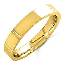 buy 14K Gold Traditional Top Flat Men'S Wedding Band (4Mm) Size-10.5