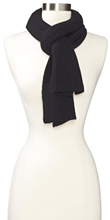 Amicale Men's Cashmere Knit Scarf, Black, One Size