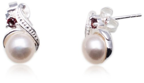 Sterling Silver Simulated Pearl and Cubic Zirconia Earrings