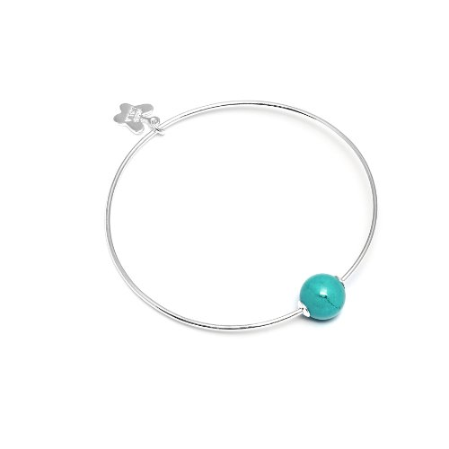 Miss Lola 'Fressia' Brass with a Silver Tone Bangle and Fixed Smooth Natural Blue Howlite Bead At Centre