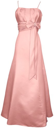 50's Style Long Satin Prom Dress Bridesmaid Gown With Bow Junior Plus Size, Large, Pink