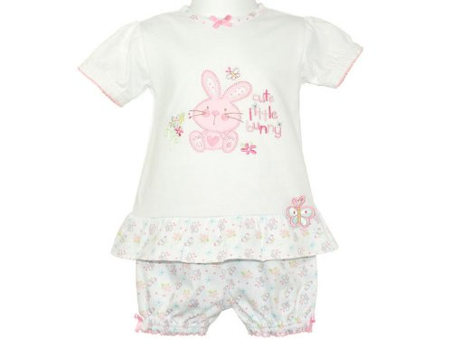 Baby Girls White 'Cute Little Bunny' Applique Dress & Shorts Pants Set - 0-3 Months