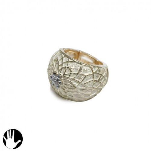 Sg Paris Fashion Jewellery Ring Adjustable Woman Enamel Metal White Flower