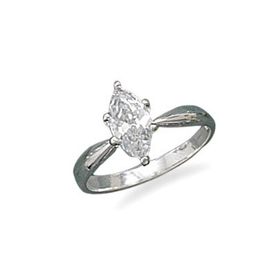 Marquise Shape Cubic Zirconia Sterling Silver Solitaire Engagement Ring, 5