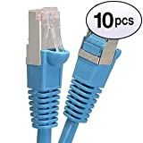 GOWOS (10 Pack) Cat6 Shielded Ethernet Cable (3 Feet - Blue) 24AWG Network Cable with Gold Plated RJ45 Molded/Booted Connector - 10 Gigabit/Sec High Speed LAN Internet/Patch Cable - 550MHz (Color: Blue, Tamaño: 3 Feet, 10 Pack)
