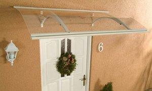 AluRundbogenvordach Swing weiß Haustürvordach 160 x 87 x 27 cm   Überprüfung und Beschreibung