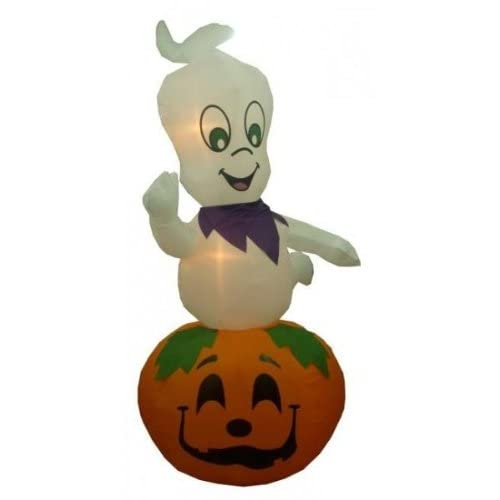 Jumbo 9 Foot Animated Halloween Inflatable Ghost on Pumpkin - 2012 Yard Decoration