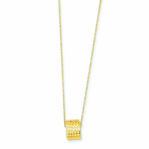 PriceRock 14K Gold Rope Chain W/ Barrel Bead W/ 2In Extension Necklace 16 Inches