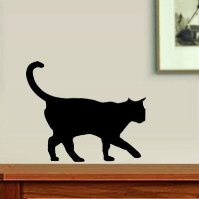 Black Cat Walking Fun Wall Decal