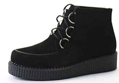 Ladies Funky Flat Wedge Heel Lace Up Platform Goth Punk Beetle Crushers Brothel Creepers Shoes Lace Up Ankle Boots Size with shoeFashionista Boutique Bag