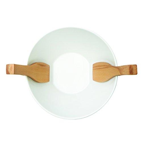 Umbra 461065-668 Savore Keramik Salatschüssel und Salatbesteck, 2-in-1, weiß / natur
