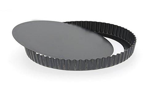 De Buyer 5357.27 Tourtière Haute Cannelée à Fond Amovible - Tôle d'Acier Bleue - Diamètre 27 cm