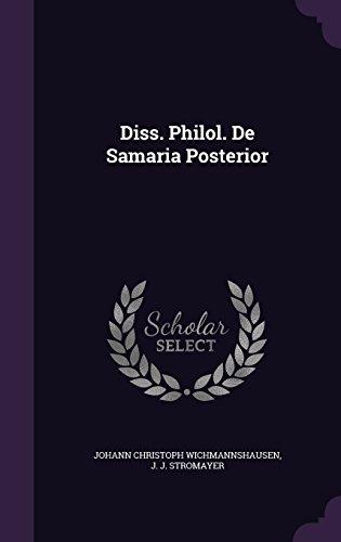Diss. Philol. De Samaria Posterior