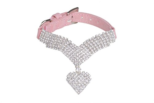 EXPAWLORER Rhinestone Dog Collar Pet Puppy Cat Crystal Collars Girl Jeweled Necklace Pink Extra Small (Swarovski Crystal Dog Hair Clips compare prices)