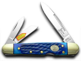 Steel Warrior Cancun Blue Jigged Bone Lockback Whittler Pocket Knife Knives