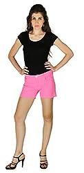 La Vida Women's Cotton Shorts (SS15ST3001LAPKXS_Pink White_X-Small)