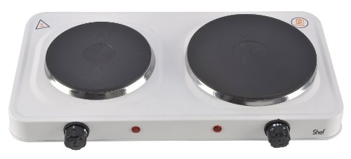 Shef Compact Portable Double Hot Plate Table Top Hob in White 1500W