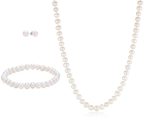 Sterling Silver Freshwater Cultured Pearl Necklace, Stretch Bracelet and Stud Earrings Set