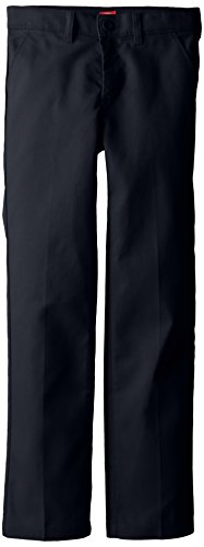 Dickies Big Girls' Slim Stretch Flat Front Pant, Dark Navy, 14 Regular
