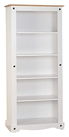 Seconique–Libreria, in legno, colore: bianco/legno di pino invecchiato e cerato