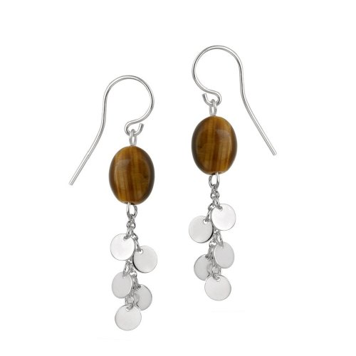Sterling Silver French Wire Earrings with Tiger Eye Bead and Silver Disc Drops