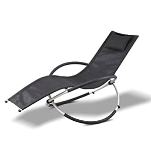 transat a bascule design noir 120 kg rocking chair chaise longue bain de soleil. Black Bedroom Furniture Sets. Home Design Ideas