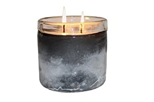 Himalayan Trading Post 16-Ounce Frosted Glass Soy Scented Candle, Tobacco Bark, Large, Grey